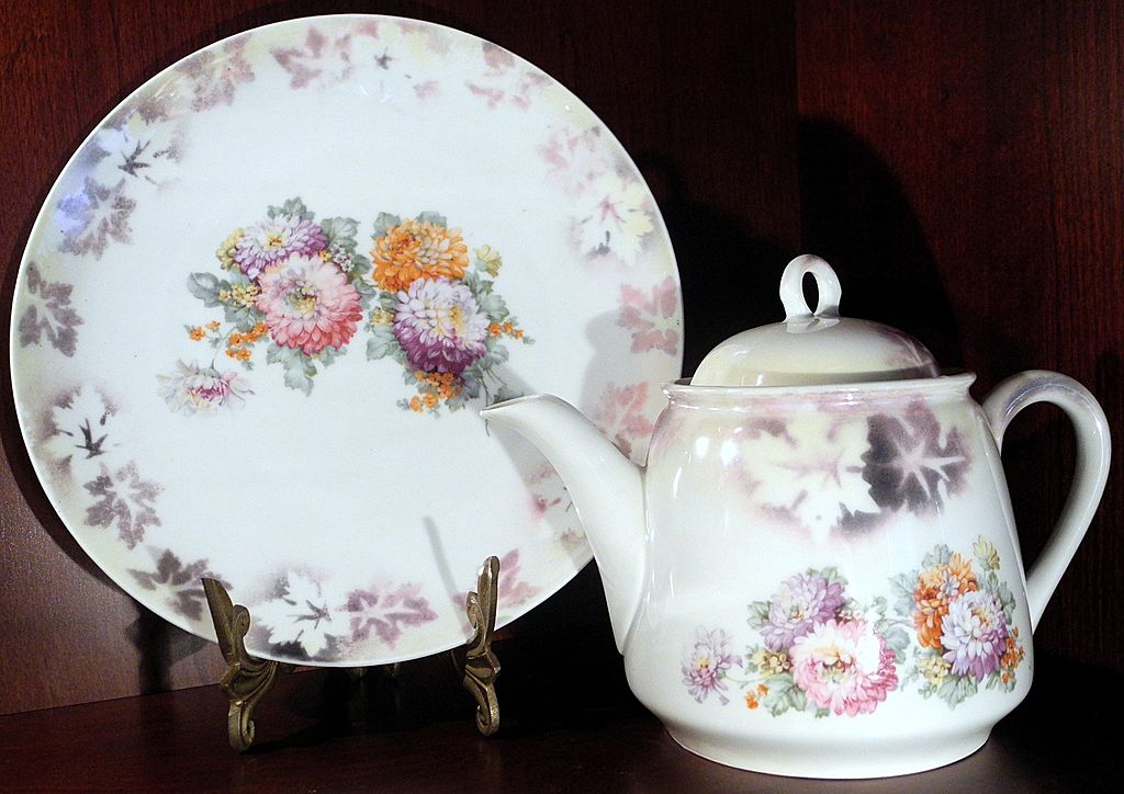 Teapot and Serving Plate, by Three Crown China, Germany, c. 1920