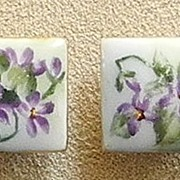 Victorian Hand Painted Violets Porcelain Ladies Cufflinks