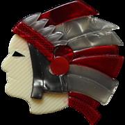 Indian Chief Head Pin, by Lea Stein, Paris