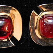 Gold-toned and Ruby Red Cabochon Cufflinks, by Anson