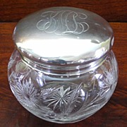 Cut Crystal Vanity Powder Jar ~Sterling Monogrammed Lid