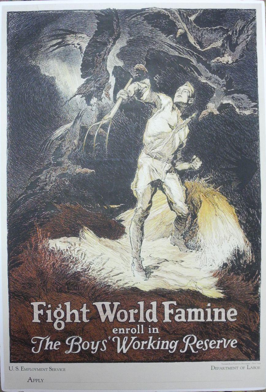 Original WW1 Fight World Famine  The Boys' Working Reserve, US Dept. of Labor