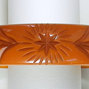Deeply Carved Caramel Starburst Bakelite Bangle Bracelet