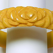 Deeply Carved Yellow Roses Bakelite Bangle Bracelet