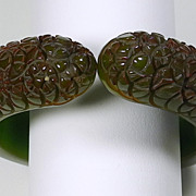Carved Green & Amber Bakelite Clamper Bracelet