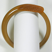 Carved Khaki Freeform Bakelite Bangle Bracelet