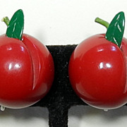 Carved Cherry Bakelite Screw-back Earrings
