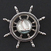 Ships Wheel Sterling and Reverse Painting on Glass Pin