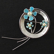 Sterling and Enamel Flower Pin, by Beau