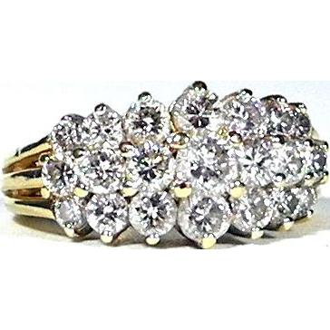 Stunning Two Carat, 14K Pyramid Style Estate Ring
