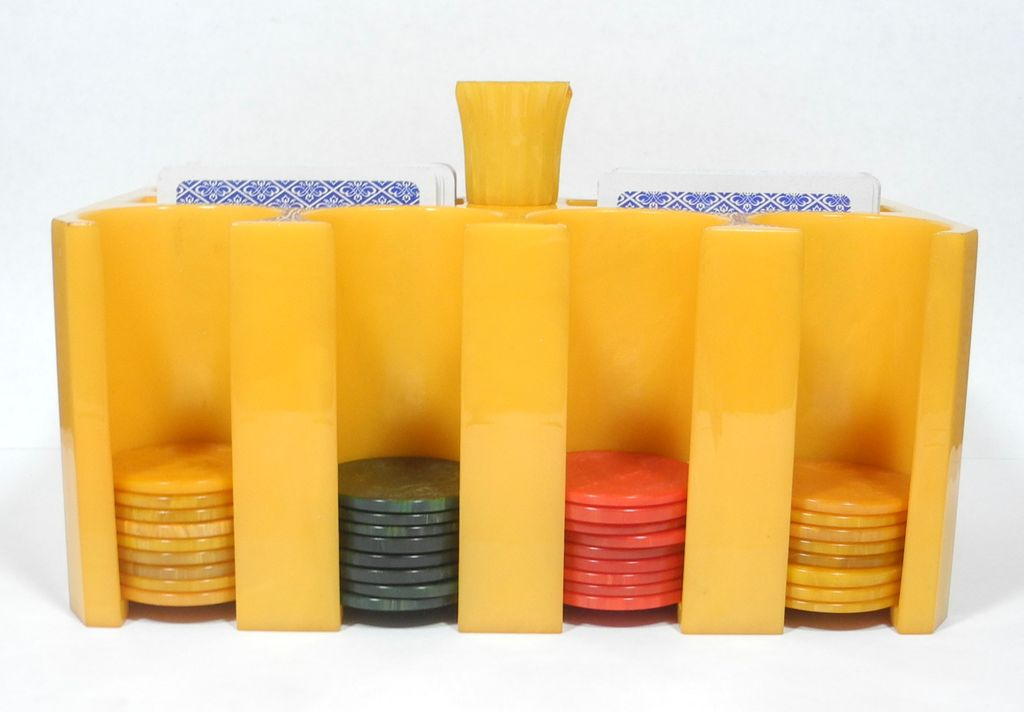 Rare Yellow 1930's Bakelite Catalin Poker Chips Caddy and Chips