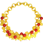 French Bakelite Red and Yellow Bead Necklace, by Marie-Christine Pavone