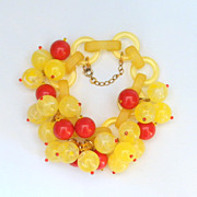 French Bakelite Red and Yellow Bead Bracelet, by Marie-Christine Pavone