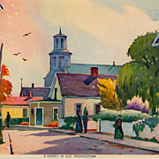 "Richard Clarke Hare print by Morris & Bendien, ""A Street in Old Provincetown"", c. 1935"