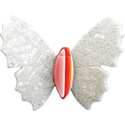 White and Orange Butterfly Pin, by Lea Stein, Paris
