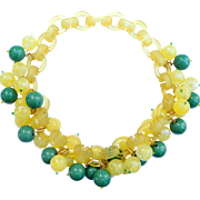 French Bakelite (Galalith) Green and Yellow Bead Necklace, by Marie-Christine Pavone