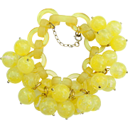 French Bakelite (Galalith) Yellow Bead Bracelet, by Marie-Christine Pavone