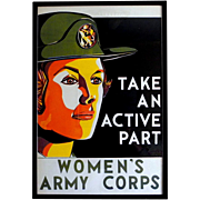 Original Women's Army Corps, Military Recruitment Poster, circa 1950