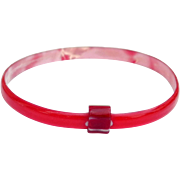 Cherry Red Bangle Bracelet, by Lea Stein, Paris