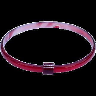 Ruby Red Bangle Bracelet, by Lea Stein, Paris