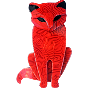 Lea Stein Red Sasha Cat Pin