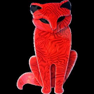 Lea Stein Red Sasha Cat Pin
