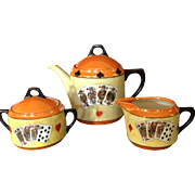 Rudolf Wachter (RW) Germany Art Deco Playing Cards Lusterware Tea Coffee Pot, Creamer & Sugar