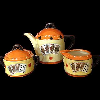 Rudolf Wachter (RW) Germany Art Deco Playing Cards Lusterware Tea Coffee Pot, Creamer & Sugar