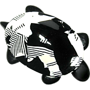 Black and White Patchwork Tortoise Pin, by Lea Stein Paris