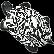 Black and White Swirl design Tortoise Pin, by Lea Stein, Paris