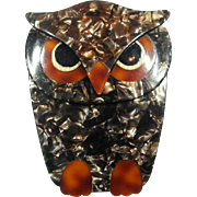 Brown and Rust Owl Pin, by Lea Stein, Paris