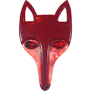 Cranberry and pink Fox head pin, by Lea Stein, Paris