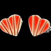 Mini Orange Heart Pin, by Lea Stein, Paris