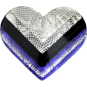 Bold Purple and White Heart Pin, by Lea Stein, Paris