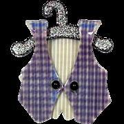 Purple Vest on Hanger Pin, by Lea Stein, Paris