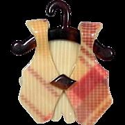 Rose and Cream Plaid Vest on Hanger, by Lea Stein, Paris