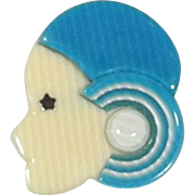 Teal Hat Flapper Pin known as Sauvage, by Lea Stein, Paris