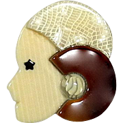 Brown Hat Flapper Pin known as Sauvage, by Lea Stein, Paris