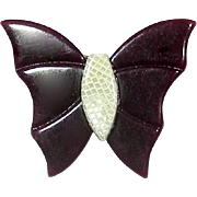 Burgundy and Cream Butterfly Pin, by Lea Stein, Paris