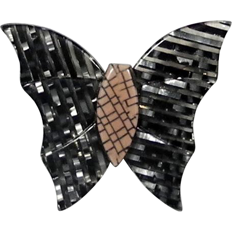 Black and Silver Butterfly Pin, by Lea Stein, Paris