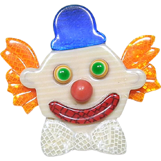Clown with a Blue Hat Pin, by Lea Stein, Paris