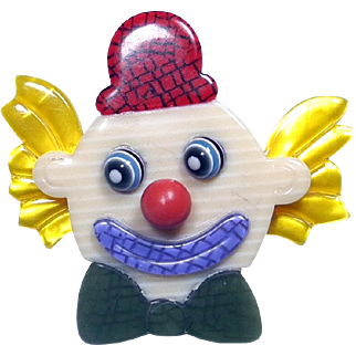 Clown with Red Hat Pin, by Lea Stein, Paris