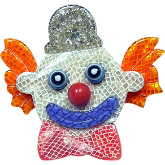 Clown with Silver Hat Pin, by Lea Stein, Paris