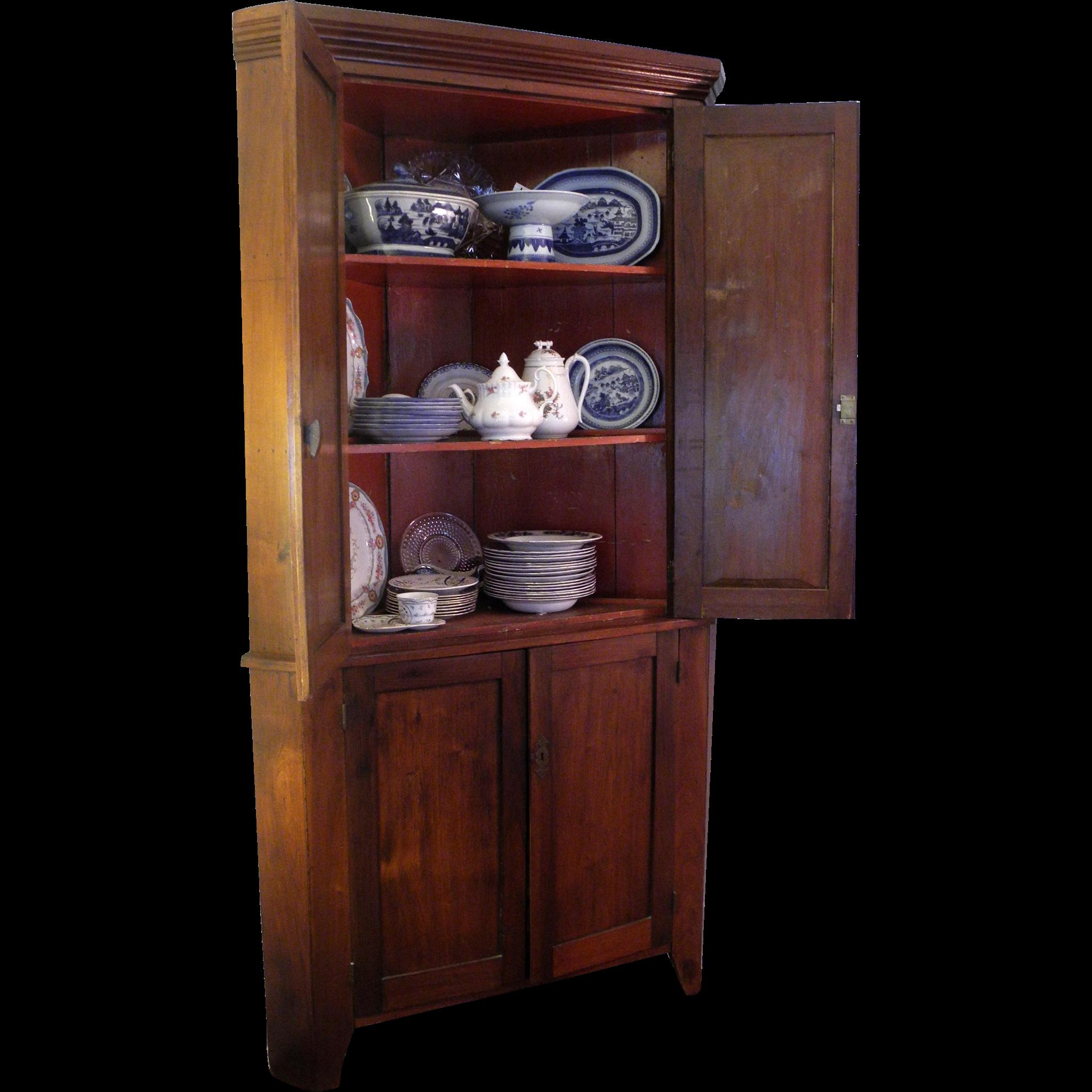 Early 19th Century Walnut Corner Cupboard
