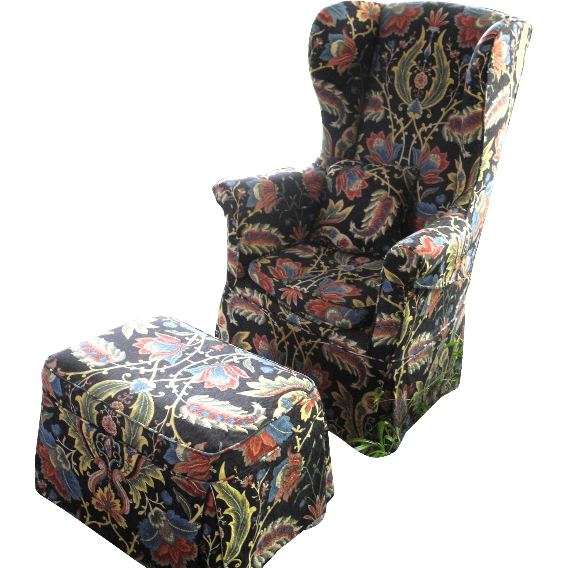 Antique Highback Wing Chair with Ottoman