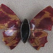 Burgundy, gold and brown Butterfly pin, by Lea Stein, Paris