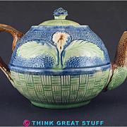 Victorian Majolica Teapot, Flower and Leaves Design