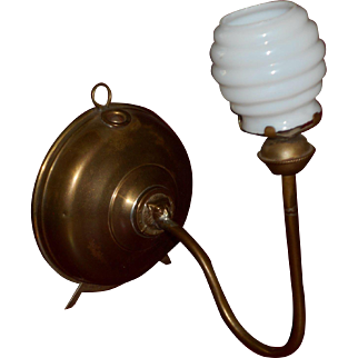 Little Beauty Miniature Oil Lamp circa 1900 with Milk Glass Behive Shade