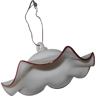 Early Milk Glass Oil Lamp Smoke Bell with Ruby Red Glass Trim