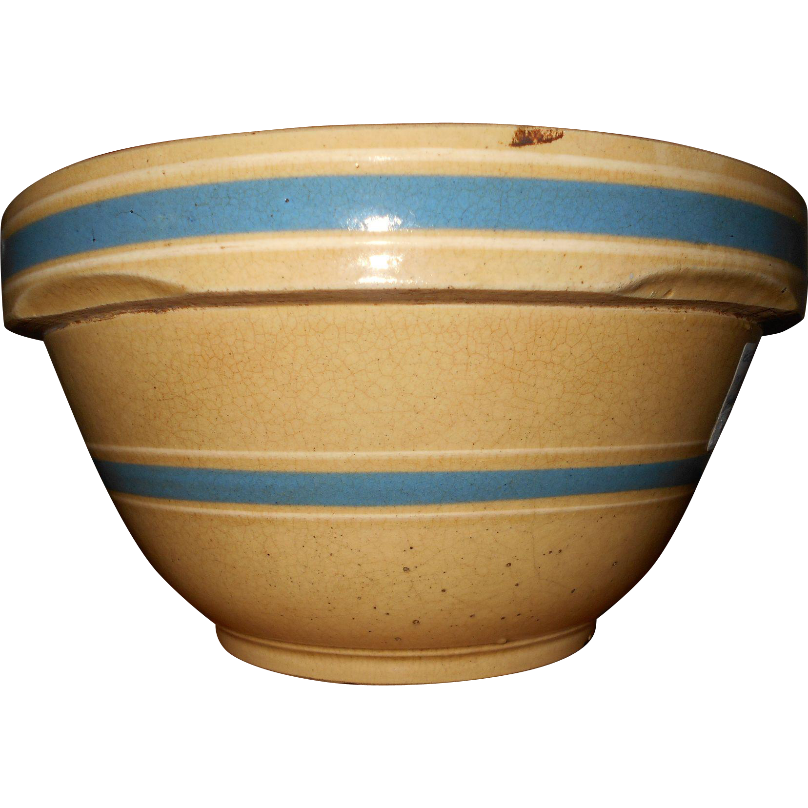 """Circa 1900 Blue and White Banded Yellow Ware Bowl 10"""""""